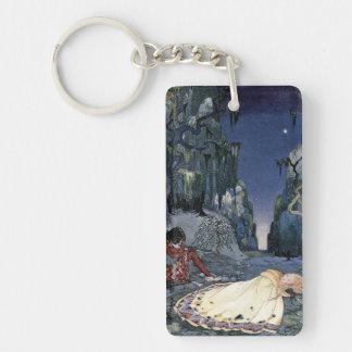 Prinzessin Asleep im Wald Einseitiger Rechteckiger Acryl Schlüsselanhänger