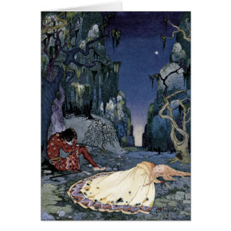 Prinzessin Asleep im Wald Grußkarte