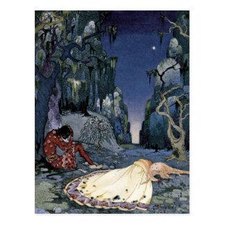 Prinzessin Asleep im Wald Postkarte