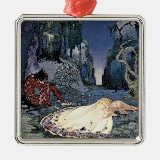 Prinzessin Asleep im Wald Quadratisches Silberfarbenes Ornament