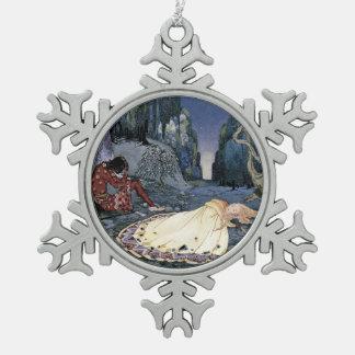 Prinzessin Asleep im Wald Schneeflocken Zinn-Ornament