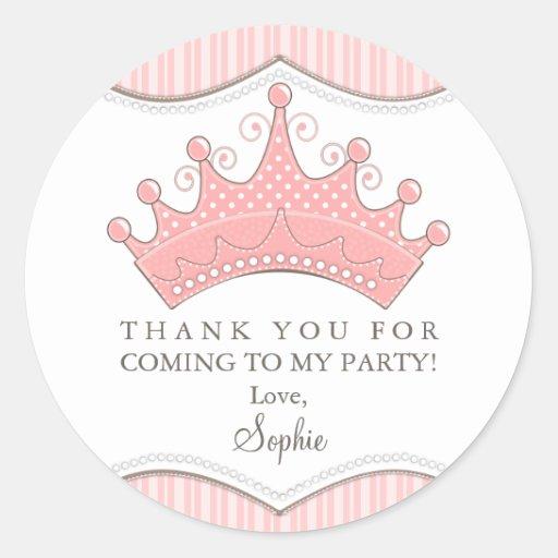 Prinzessin Birthday Pink Crown Thank Sie Aufkleber