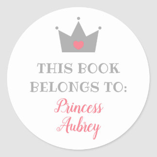 Prinzessin Crown | dieses Buch gehört Runder Aufkleber