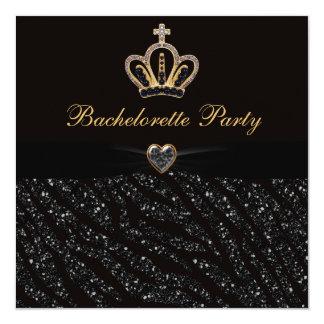Prinzessin Crown Heart u. Zebra-Glitter Quadratische 13,3 Cm Einladungskarte