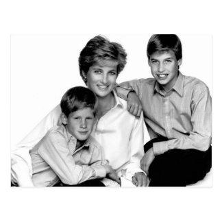 Prinzessin Diana und Söhne Postkarte