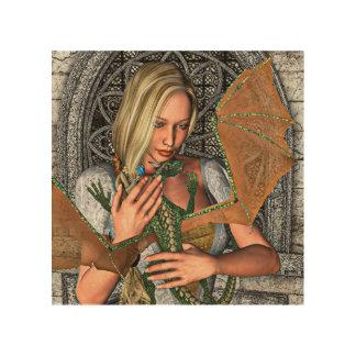 Prinzessin mit Drachen Holzdruck