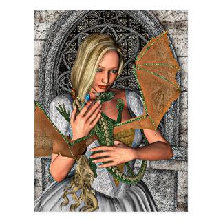 Prinzessin mit Drachen Postkarte