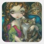 """""""Prinzessin mit eine Maine-Waschbär-Katzen-"""" Quadratsticker"""