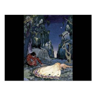 Prinzessin Sleeping im Wald Postkarte
