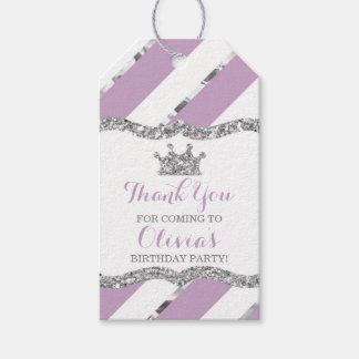 Prinzessin Thank You Tag, lila, silbern, Krone Geschenkanhänger