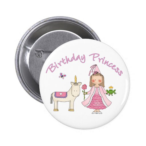 Prinzessin Unicorn Birthday Girl Buttons