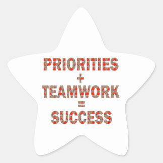 PRIORITÄT Teamwork-Erfolgs-Klugheit Stern-Aufkleber