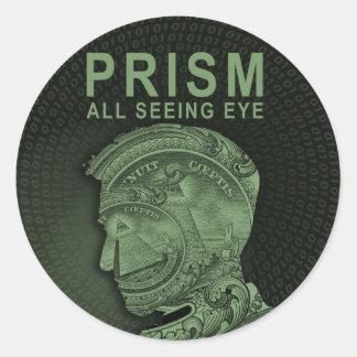 PRISMA - alles sehende Auge - Grün Runder Aufkleber