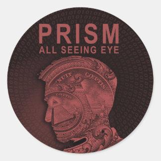 PRISMA - alles sehende Auge - Rot Runder Aufkleber