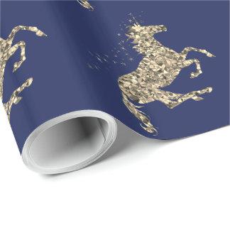 Prismatisches GoldEinhorn-Blau Packpapier