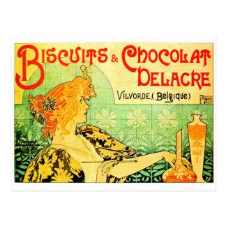 Privat livemont Kekse und chocolat delacre Postkarte