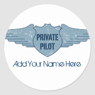 Privater Pilot Blue Wings Runder Aufkleber