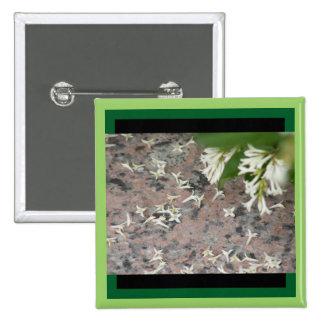 Privet Blüten auf Granit Quadratischer Button 5,1 Cm