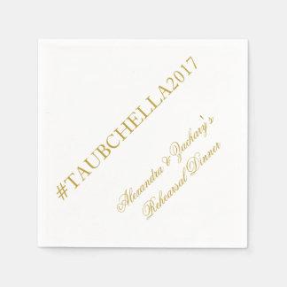 Proben-Abendessen Hashtag Servietten-Gold und Weiß Papierserviette