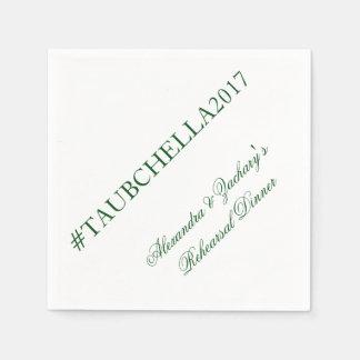 Proben-Abendessen Hashtag Servietten Grün und Weiß