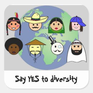 ProDiversity des Leuteweltweiten Antirassismus Quadratischer Aufkleber
