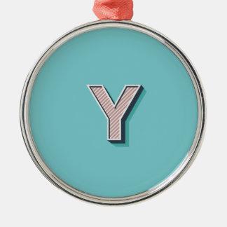 Produkt mit Buchstabe Y Silbernes Ornament