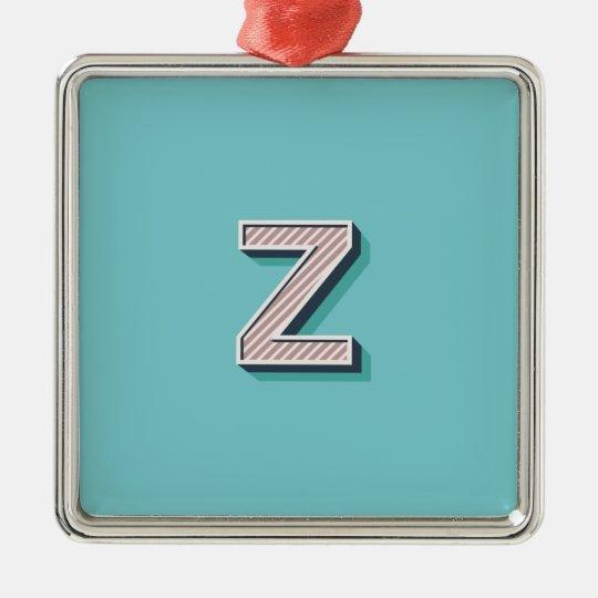 Produkt mit Buchstabe Z Quadratisches Silberfarbenes Ornament