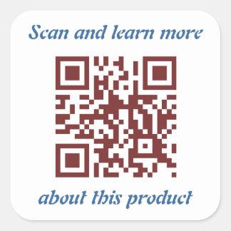 Produktinformationsschablone QR Code- Quadratischer Aufkleber