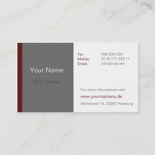 Professionelle Business Visitenkarten Braun Rot Visitenkarte
