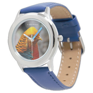 Profil eines goldenen roten Fasans Uhr