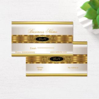Profil-Geschäfts-Creme-Goldmonogramm-Schwarzes Visitenkarte