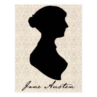 Profil-Silhouette Janes Austen Postkarte