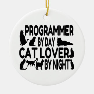 Programmierer-Katzen-Liebhaber Rundes Keramik Ornament