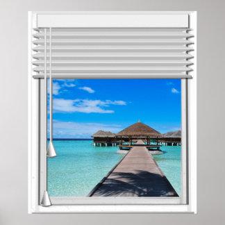 Promenaden-Pier-Seeansicht-Fake-Fenster mit Poster