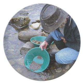 Prospektor-Goldverschieben-Tasse Flacher Teller