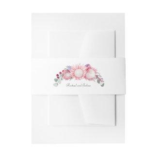 Protea-Fantasie-Aquarell-Blumenhochzeit Einladungsbanderole