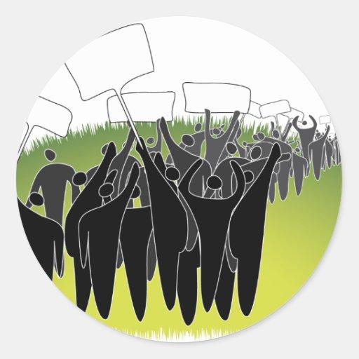 Protest mit Zeichen - grüne Umwelt Runder Sticker