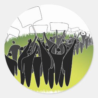 Protest mit Zeichen - grüne Umwelt Runder Aufkleber