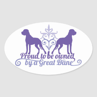 Proud owned by a Great Dane purple Ovaler Aufkleber