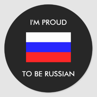 Proud to be Russian Runder Aufkleber