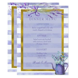 Provence-Lavendel-lila Blumen-Hochzeits-Menü 16,5 X 22,2 Cm Einladungskarte