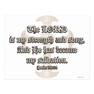 Psalm-118:14 - geätztes kupfernes Kreuz Postkarte