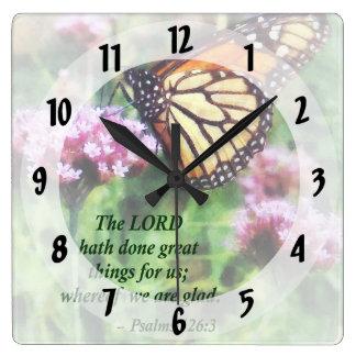 Psalm 126 3 die erfolgten großen Sachen LORDS hath Quadratische Wanduhr
