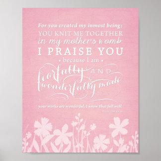 """Psalm-139:13 - 14"""" ängstlich und wunderbar gemacht poster"""
