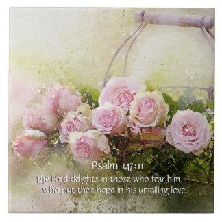 Psalm-147:11, Bibel-Vers, Korb der rosa Rosen, Keramikfliese