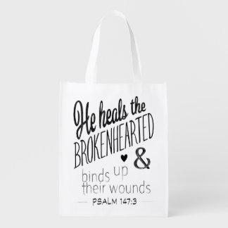 Psalm-147:3 heilt er das untröstliche wiederverwendbare einkaufstasche