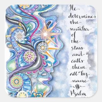 Psalm-147:4 nennt er die Sterne namentlich Quadratischer Aufkleber