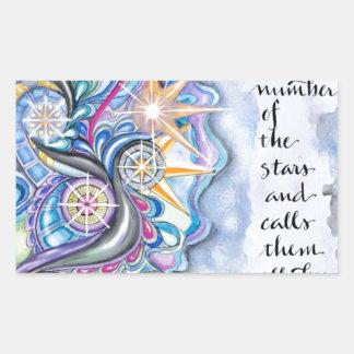 Psalm-147:4 nennt er die Sterne namentlich Rechteckiger Aufkleber