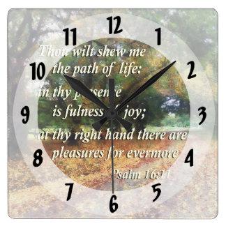 Psalm-16:11 Tausend verwelken shew mich der Weg Quadratische Wanduhr