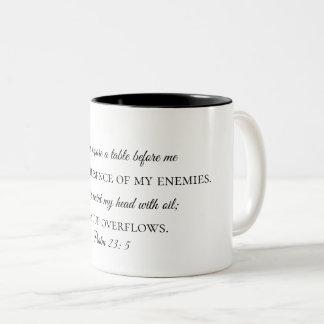 Psalm-23:5 Kaffee-Tasse Zweifarbige Tasse